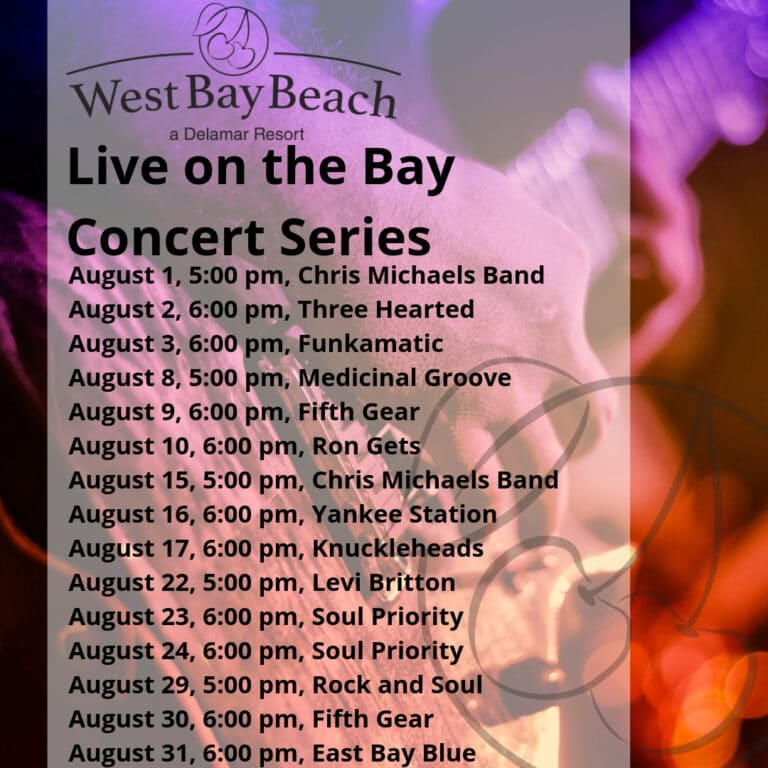 August 2019 Concert Series at West Bay Beach Delamar